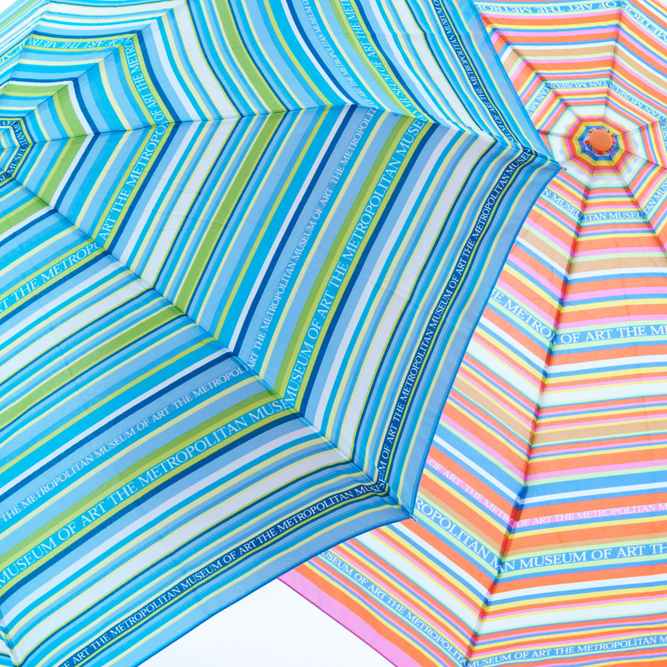 Met stripe detail custom museum umbrella