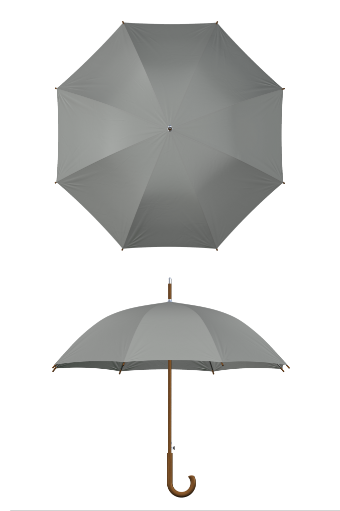 Wood frame gray umbrella