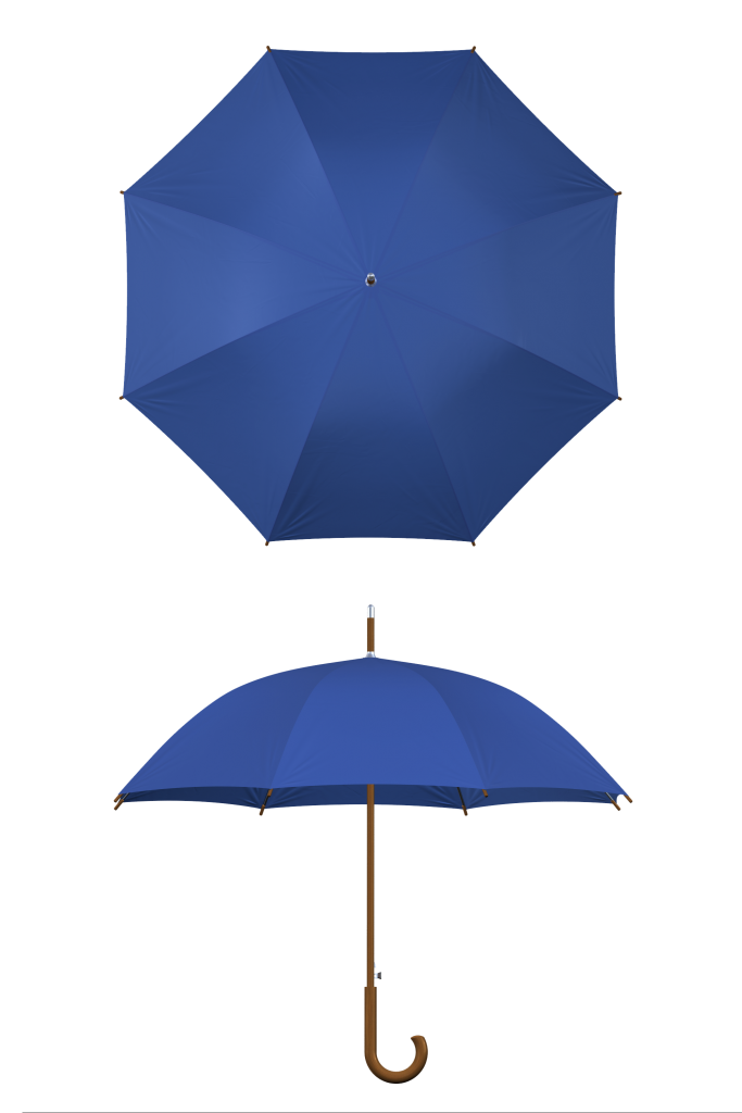 Wood frame royal blue umbrella