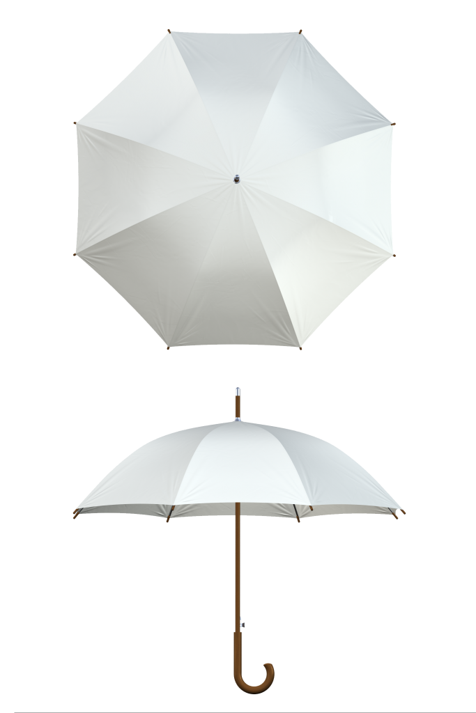 Wood frame white umbrella