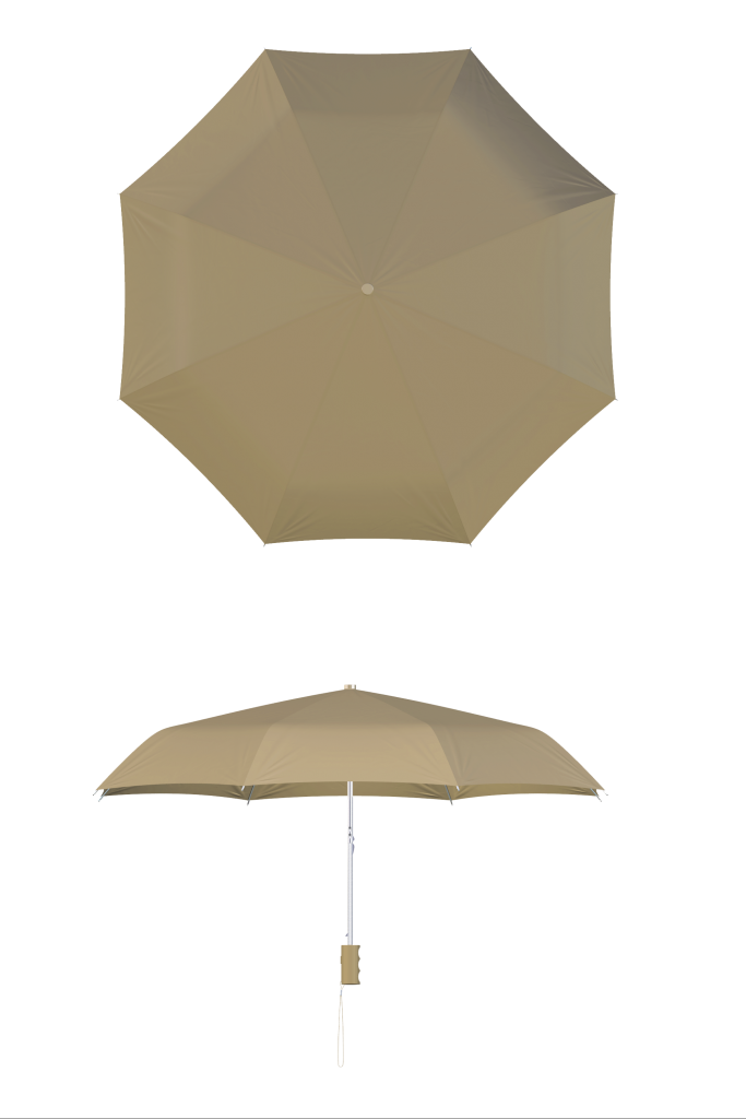 Compact frame beige umbrella