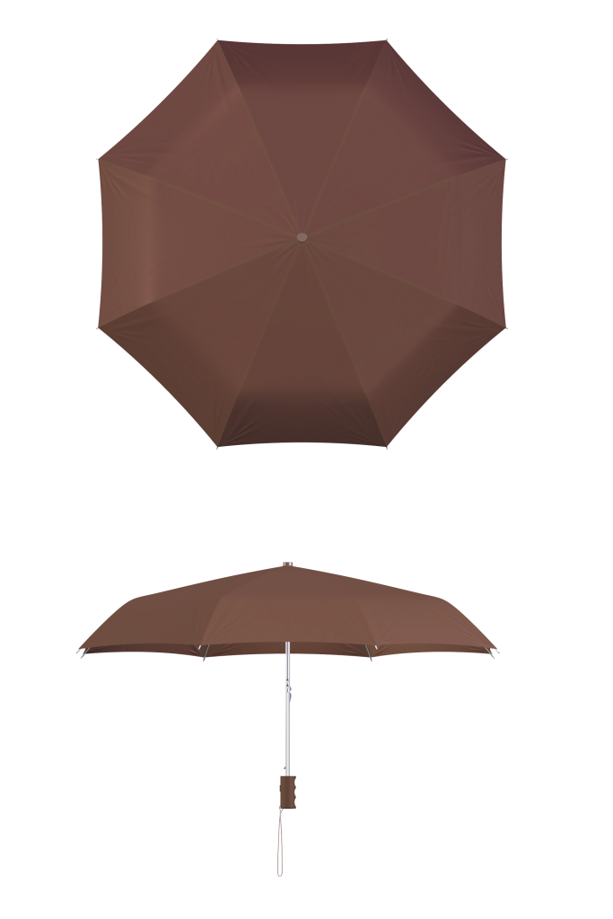 compact frame brown umbrella
