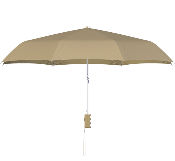 compact frame beige umbrella side view