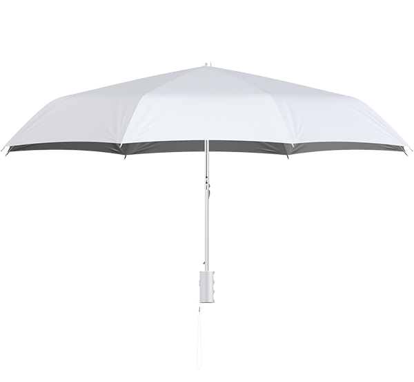 compact frame white umbrella side view