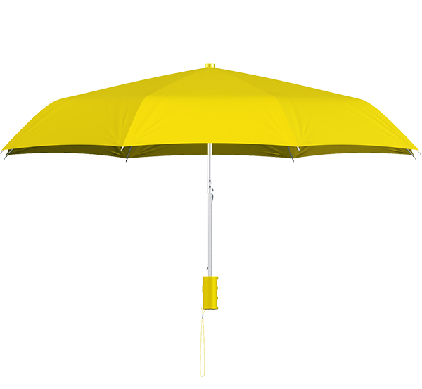 compact frame yellow umbrella side view