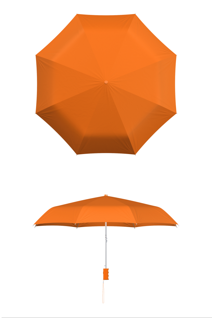 compact frame orange umbrella