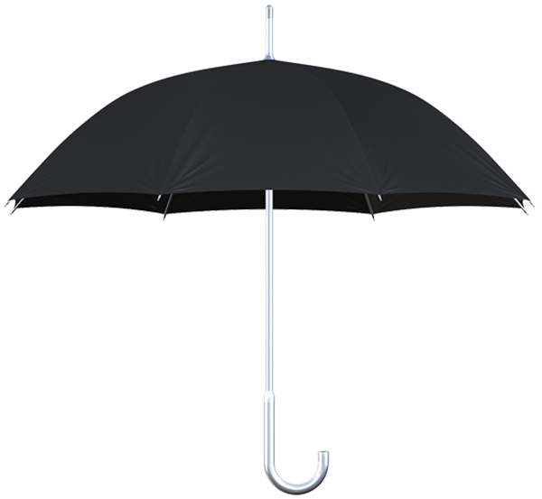 aluminum frame black umbrella side view