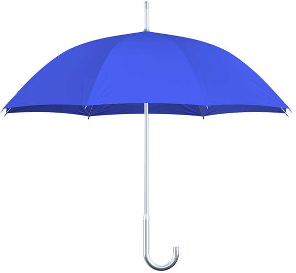 aluminum frame royal blue umbrella side view