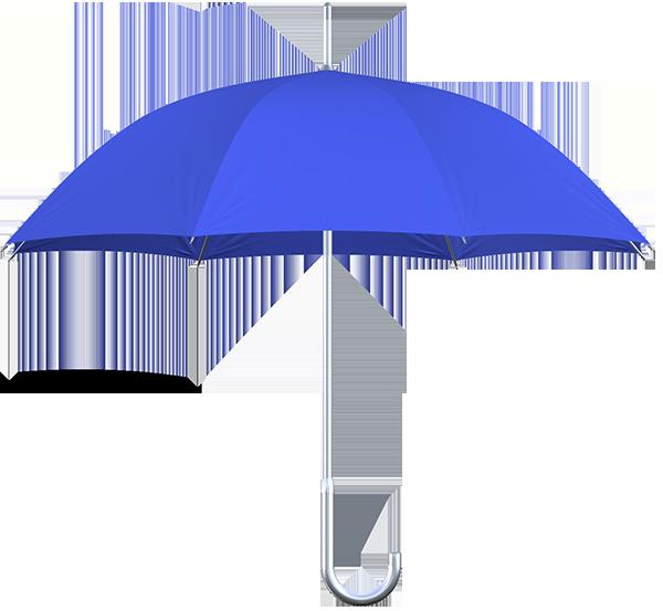aluminum frame royal blue umbrella side view