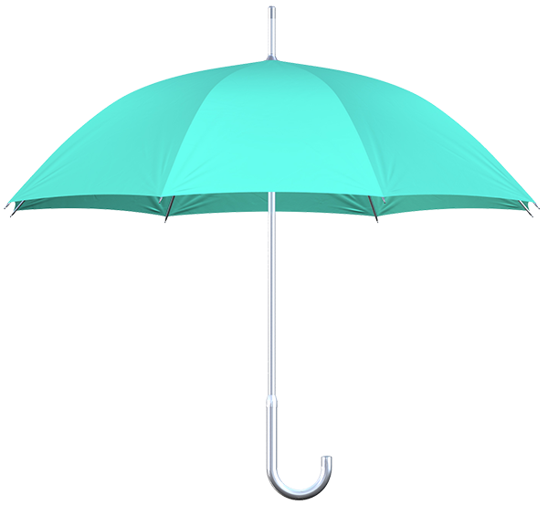 aluminum frame mint umbrellas side view