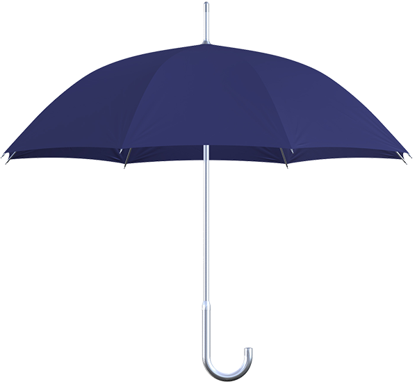 aluminum frame navy umbrella side view