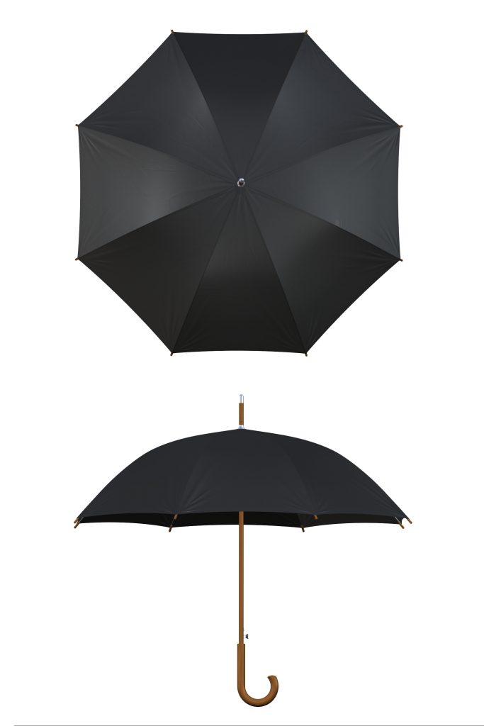 Wood frame black umbrella