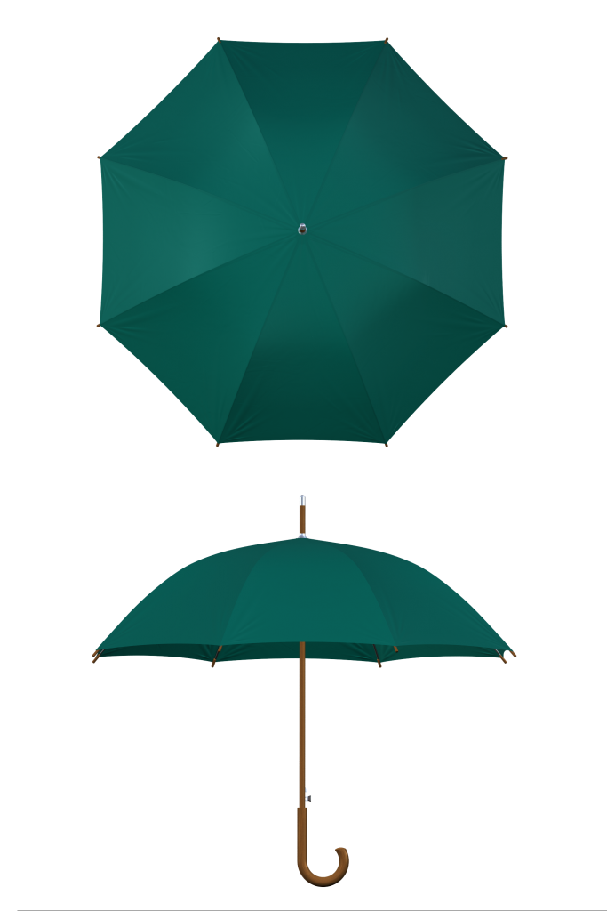 Wood frame hunter green umbrella