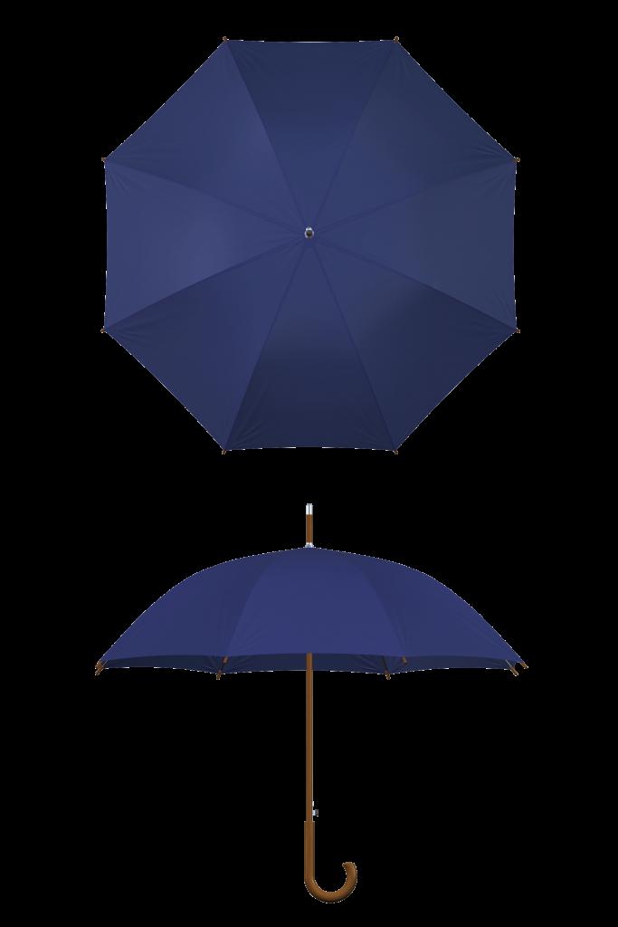 Wood frame navy umbrella