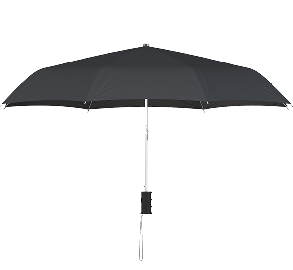 compact frame black umbrella side view
