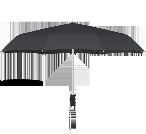 compact frame black umbrella side view