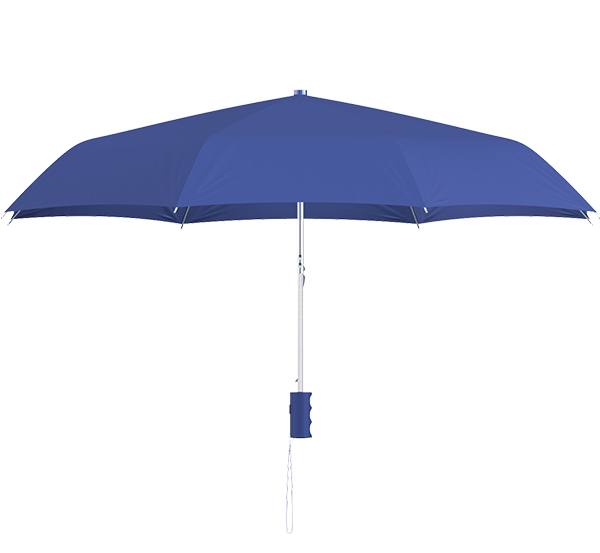 compact frame royal blue umbrella side view