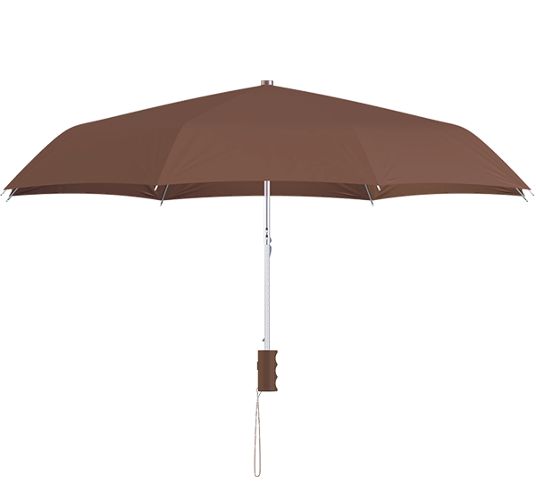 compact frame brown umbrella side view