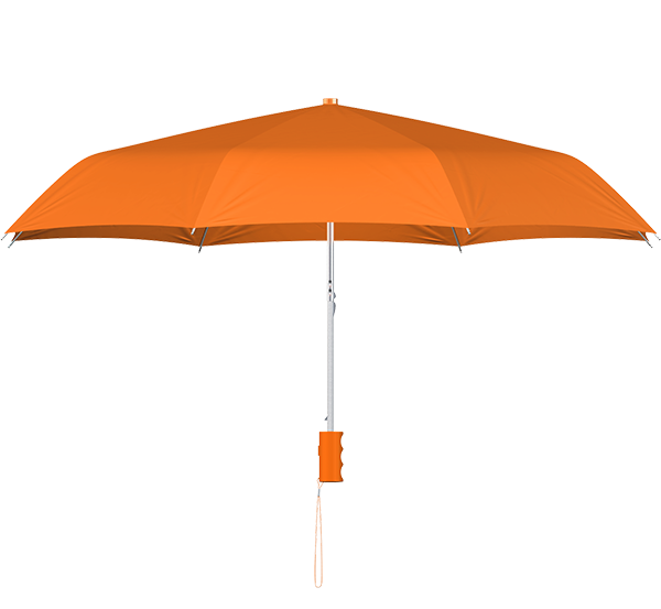 compact frame orange umbrella side view