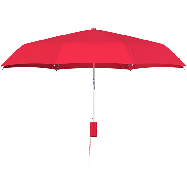 compact frame red umbrella side view