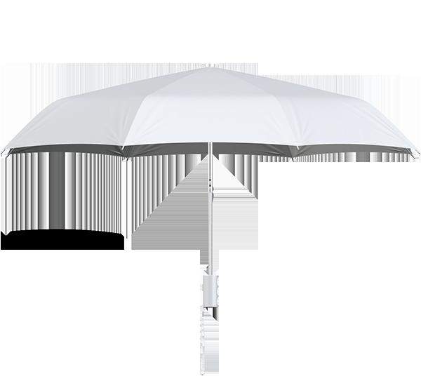 compact frame white umbrella side view