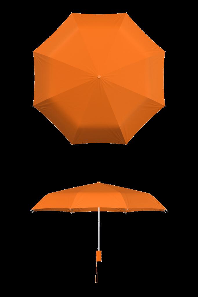 compact frame orange umbrella